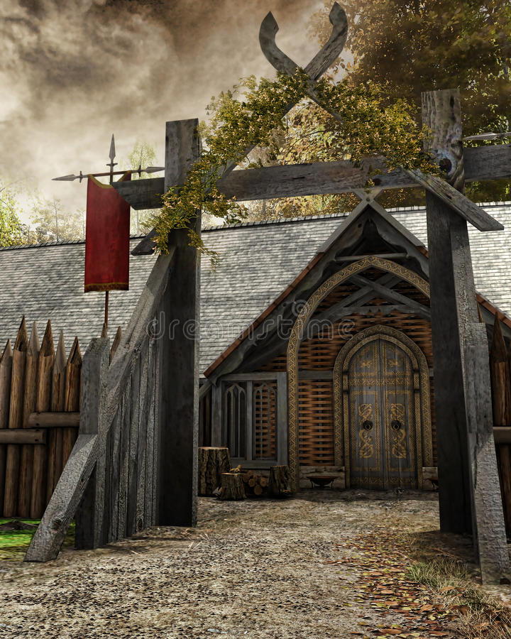 Gate to old settlement. Wooden gate to an old medieval settlement stock illustration