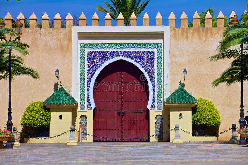 Gate to the palace of the king of Morocco royalty free stock images