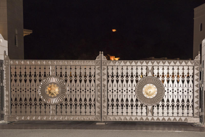 Gate to Palace in Muscat stock photography
