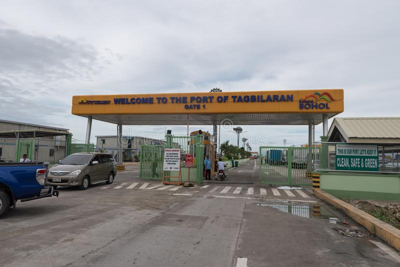 BOHOL, PHILIPPINES - FEBRUARY 14, 2018: Gate to the port of Tagbilaran in Philippines, Bohol Island. Gate to the port of Tagbilaran in Philippines, Bohol Island royalty free stock photo