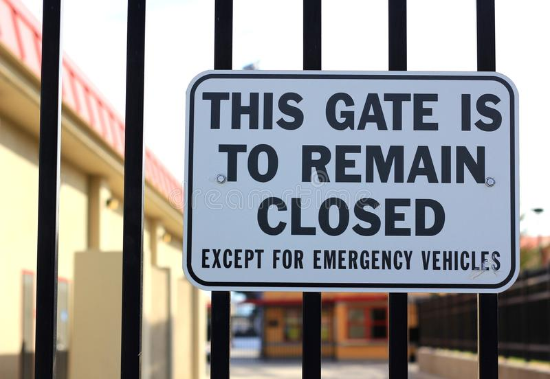 Gate to Remain Closed. Excep for emergency vehicles royalty free stock images