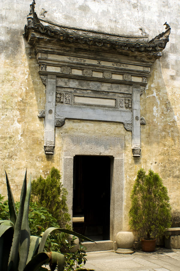 Gate to a rich person's house in ancient hongcun royalty free stock photos