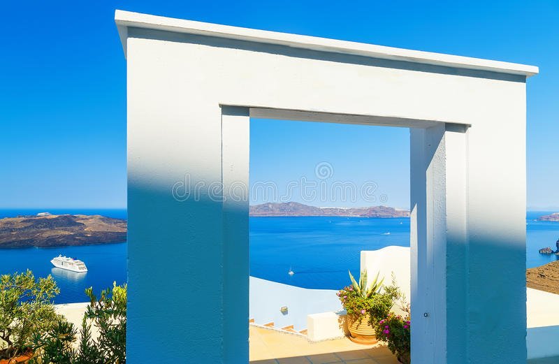 Gate to the sea - Santorini island. View on steps leading down and overlooking the Calero and cruise ship in Bay stock images