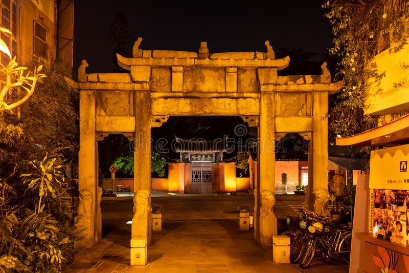 A gate to a temple in Tainan at night in Taiwan. A gate to a temple in Tainan at night in Taiwan stock photo