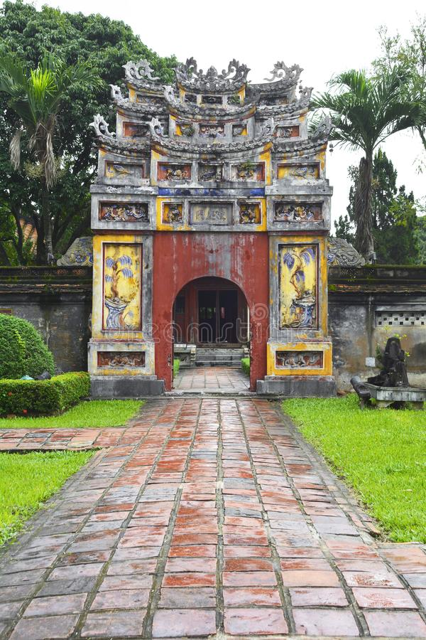 Gate to The To Mieu and Hung To Mieu Complex. The gate to The To Mieu and Hung To Mieu Complex in the Imperial City, Hue, Vietnam royalty free stock images