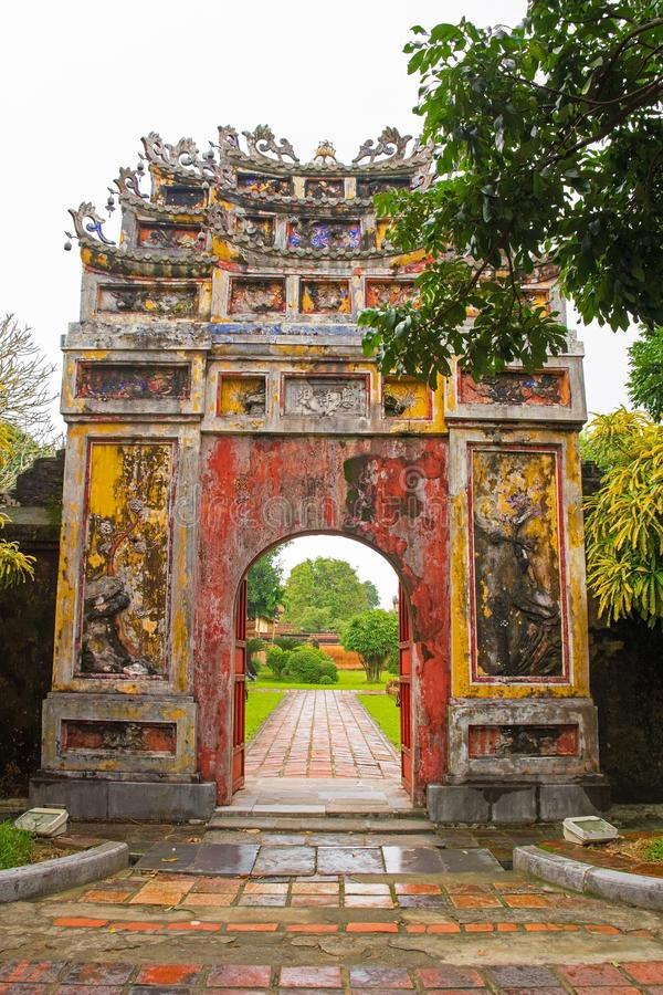 Gate to The To Mieu and Hung To Mieu Complex. The gate to The To Mieu and Hung To Mieu Complex in the Imperial City, Hue, Vietnam stock image