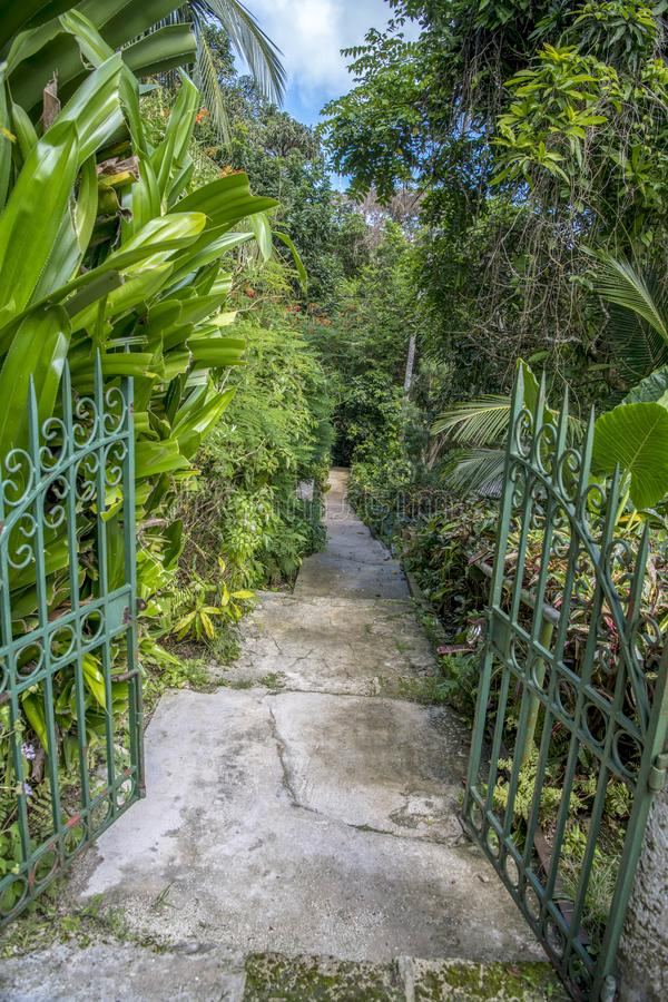 Gate to wonderful park, Barbedos. royalty free stock photography