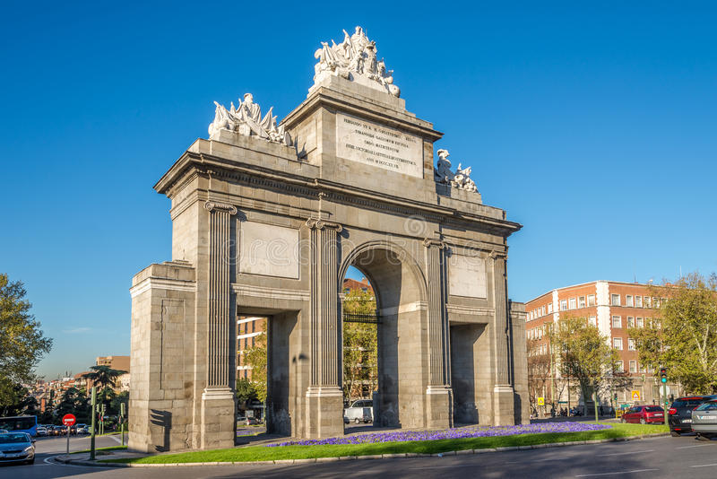 The Gate of Toledo (Puerta de Toledo) in Madrid. MADRID,SPAIN - APRIL 26,2016 - The Gate of Toledo (Puerta de Toledo) is a gate located in Madrid. Construction stock photography
