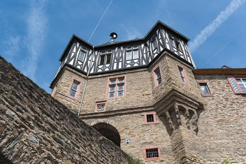 The gate tower of renaissance castle in idstein, hesse, germany stock images