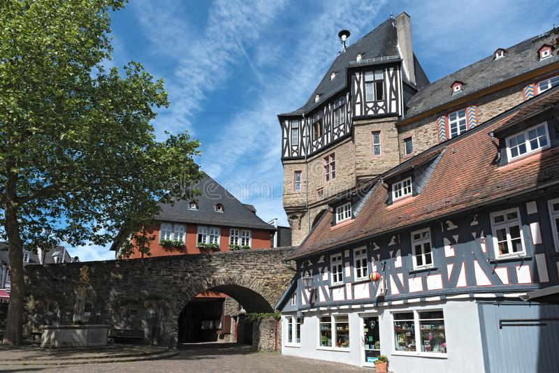 The gate tower of renaissance castle in idstein, hesse, germany.  royalty free stock photo