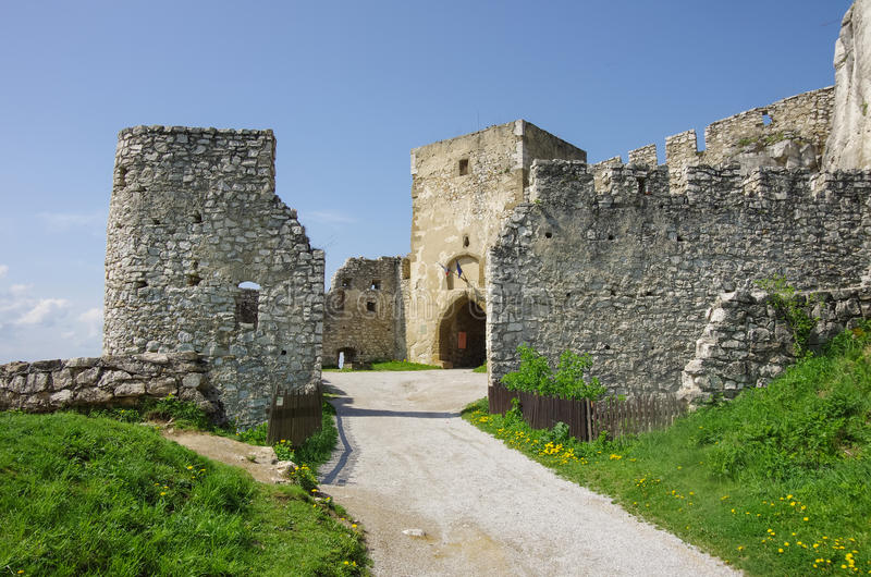 Gate tower of Spis Castle. Spissky hrad National Cultural Monument (UNESCO) ruins of medieval castle, Slovakia royalty free stock photos
