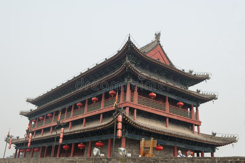 Gate tower of Xian city wall royalty free stock photos