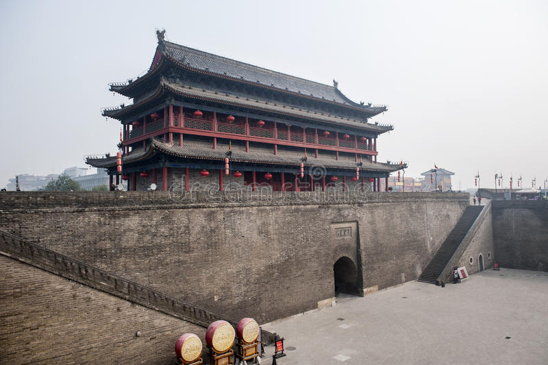 Gate tower of Xian city wall. City wall of Xian with long history. this is the gate tower royalty free stock photo
