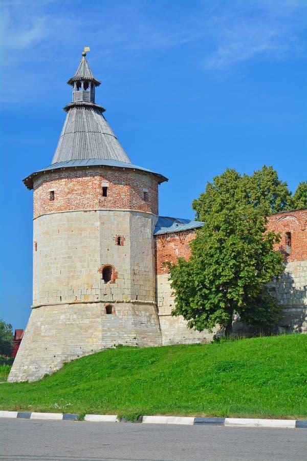 Gate Tower of Zaraysk Kremlin stock images