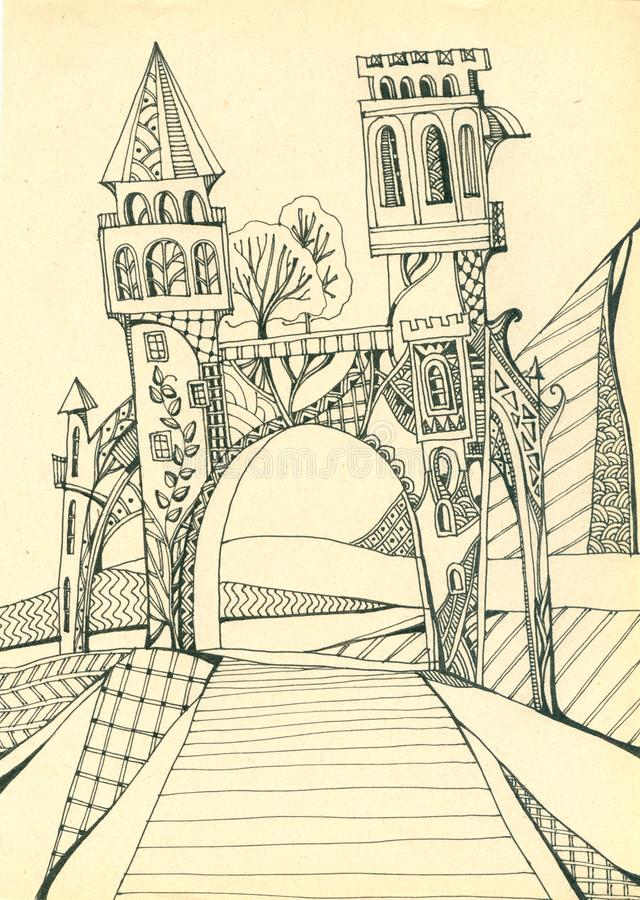 Gate with towers above the road. Portal in magic world. Hand drawing vector illustration