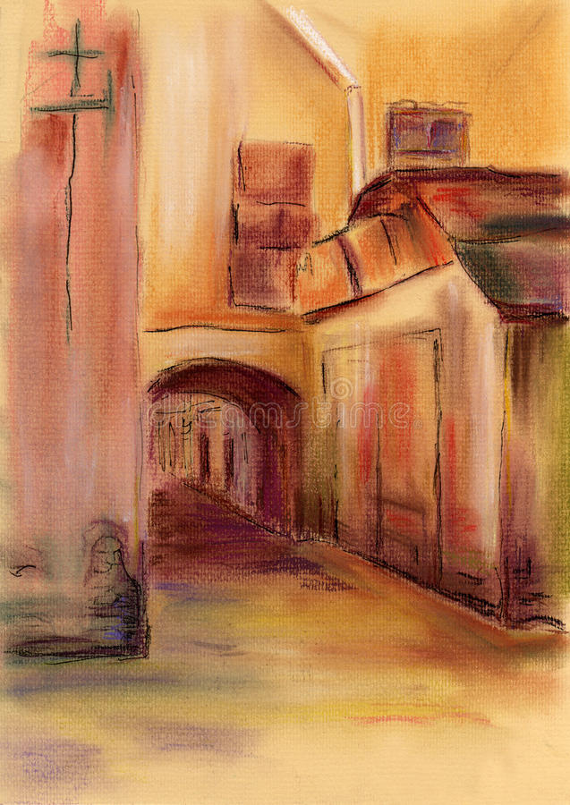 Gate in town pastel. Painting royalty free illustration