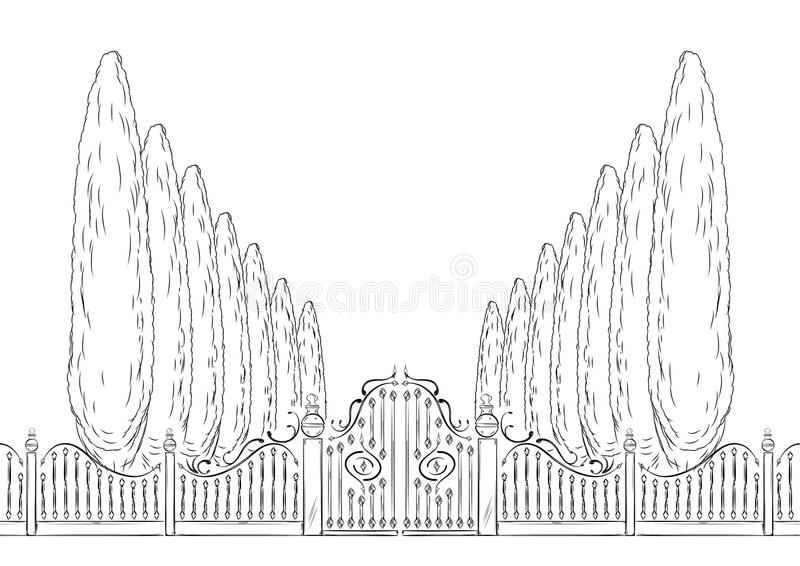 Download Gate and trees stock vector. Illustration of black, entrance - 21824253