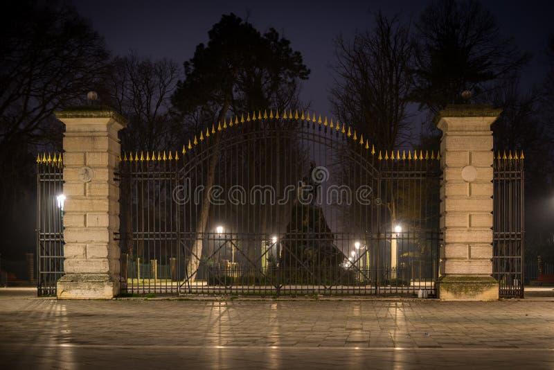 Gate of Vale Giuseppe Garibaldi. Nightshot of the entry gate to Vale Giuseppe Garibaldi, a park in Venice-Castello royalty free stock image