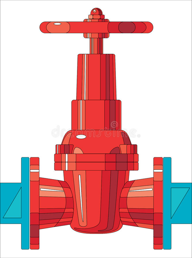 Gate valve. As the intermediary for connection of two systems royalty free illustration