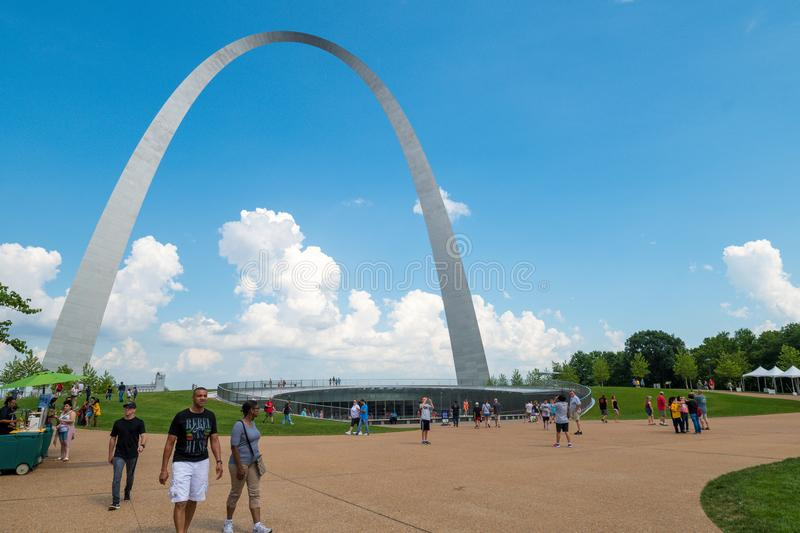 The gate way arch and recently built Museum in st louis misouri. A view of the Gateway arch in ST. Louis Misouri. The arch was designed to represent the westward stock image