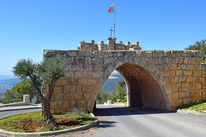 Gate of the winds, Mount Tabor, Lower Galilee, Israel. Gates of winds on the road leading to the Church of the Transfiguration, Mount Tabor, Lower Galilee royalty free stock photos