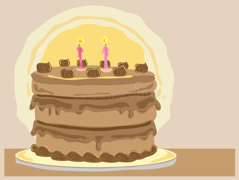 Gateaux. Hand drawn illustration of a delicious chocolate gateaux with cream and candles on a cake board and a pale brown background royalty free illustration