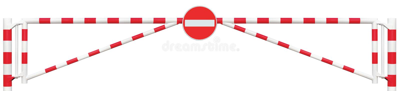 Gated Road Barrier Closeup, No Entry Sign Roadway Gate Bar Bright White And Red Traffic Stop Block Vehicle Security Point Isolated stock images