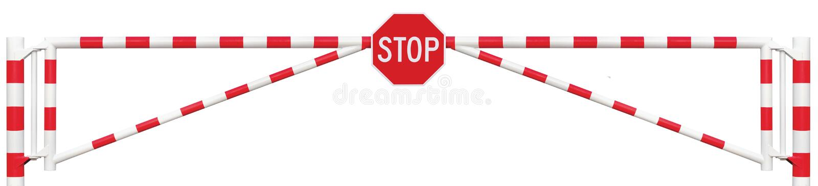 Gated Road Barrier Closeup, Octagonal Stop Sign Roadway Gate Bar stock photo