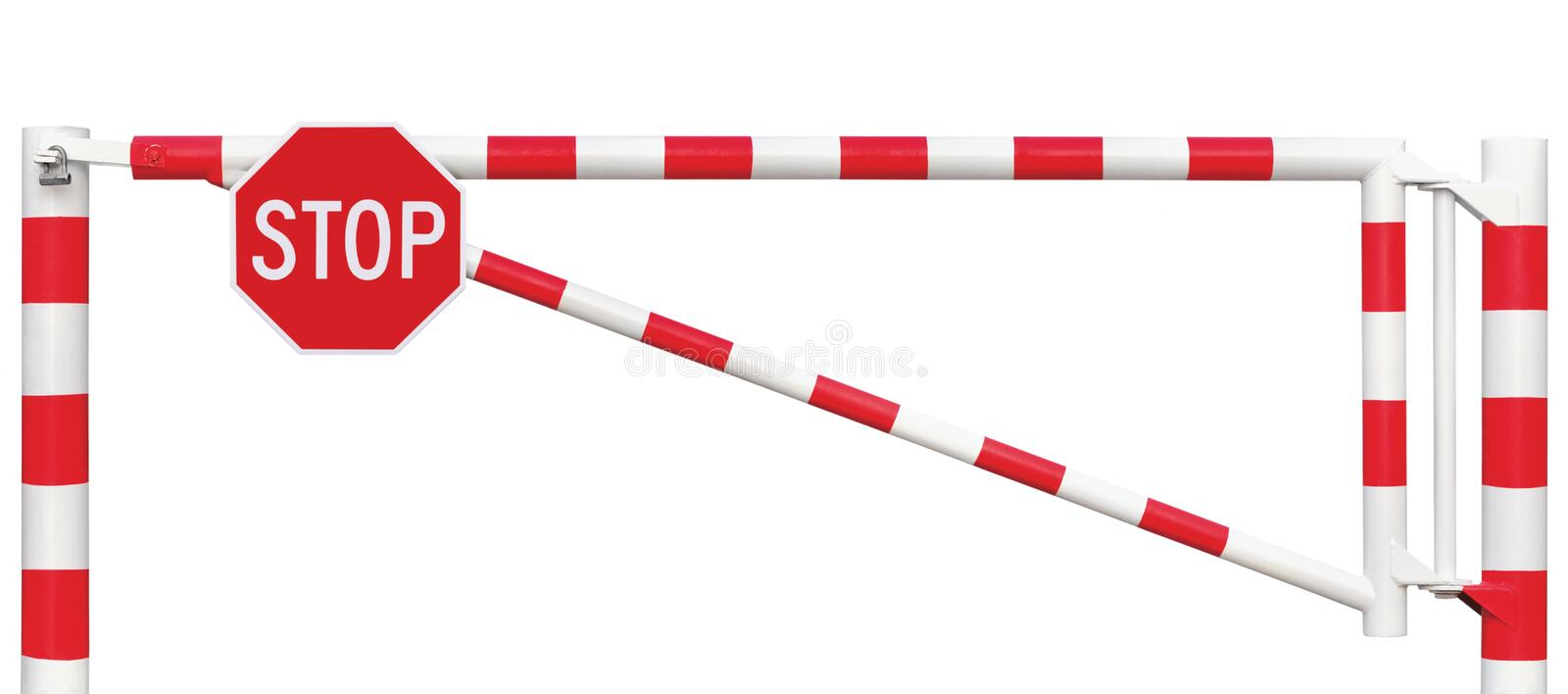 Gated Road Barrier Closeup, Octagonal Stop Sign, Roadway Gate Bar In Bright White And Red, Traffic Entry Stop Block Security Point. Gated Road Barrier Closeup royalty free stock images
