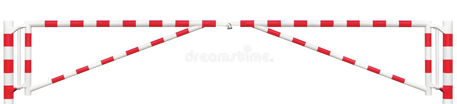 Gated Road Double Traffic Barrier Panorama Closeup, Roadway Gate Bar In Bright White Red, Entry Stop Block Vehicle Security Point. Gated Road Double Traffic royalty free stock images