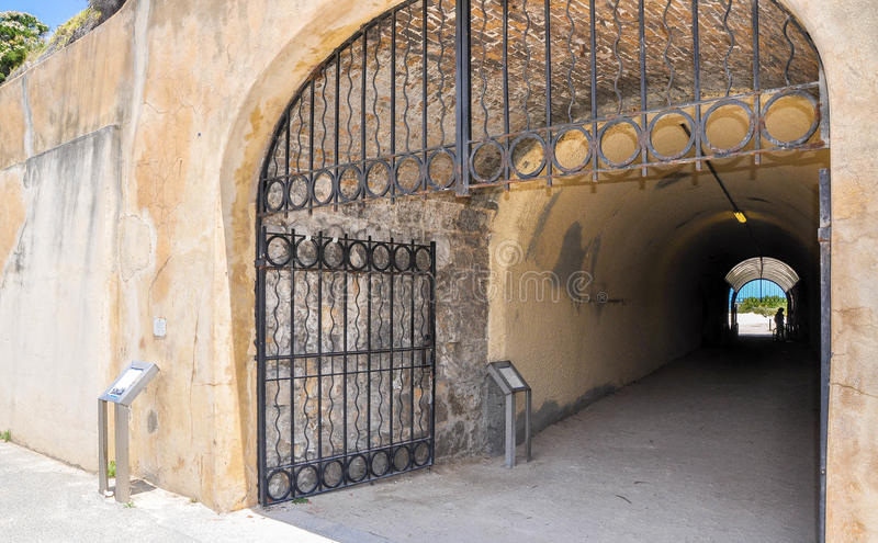 Gated View through the Whaler's Tunnel: Fremantle, Western Australia stock photos