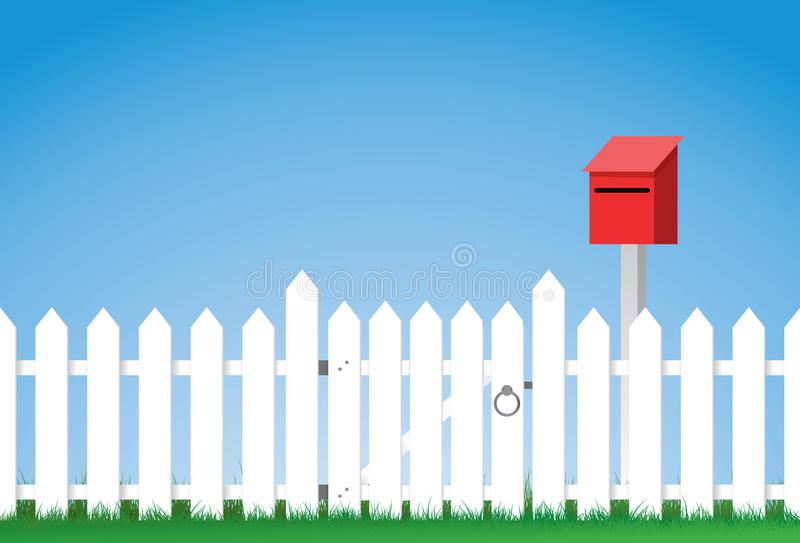 Gated white picket fence royalty free illustration