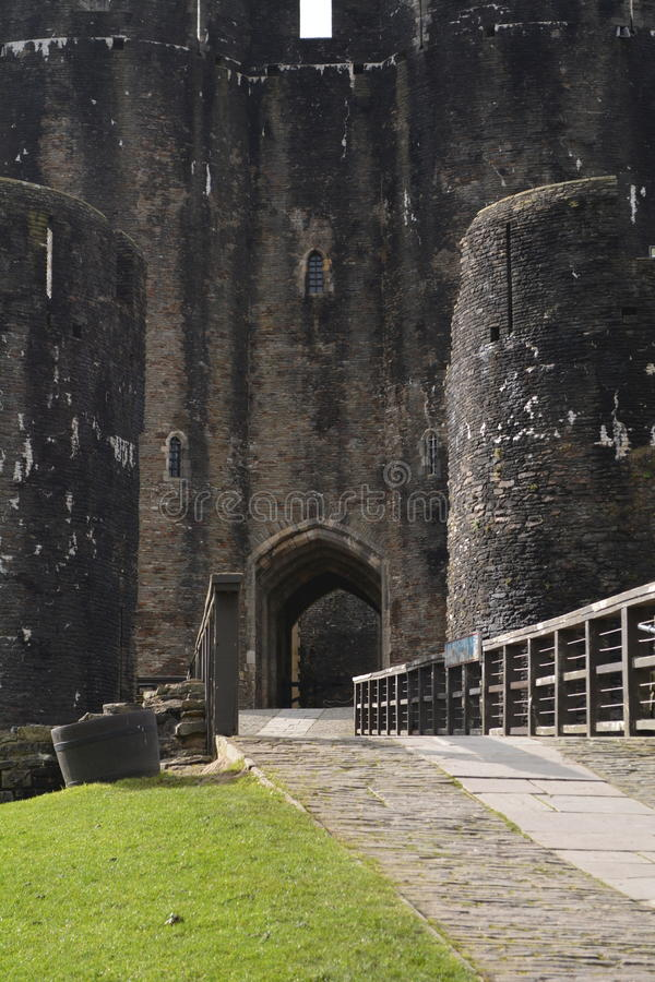 Gatehouse, Caerphilly kasztel fotografia royalty free