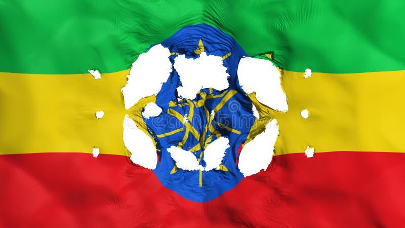 Gaten in de vlag van Ethiopië royalty-vrije illustratie
