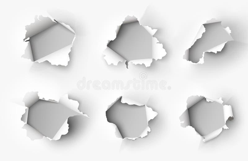 Gaten in document op wit worden gescheurd dat stock illustratie