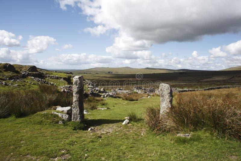 Gateposts merrivale, dartmoor park narodowy fotografia stock