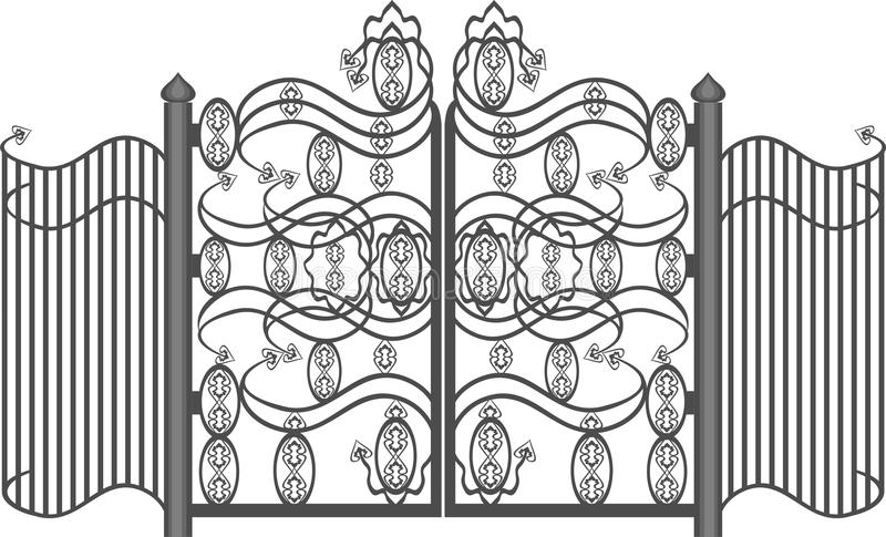 Gates. Wrought iron gates in the style of Classicism vector illustration