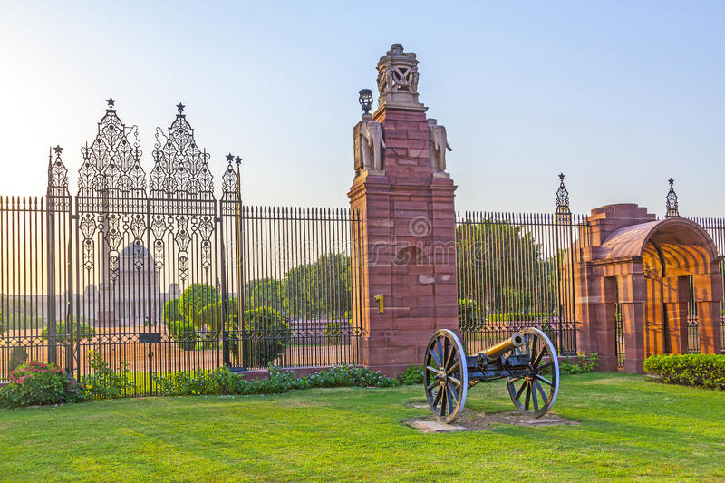 Gates with canon at entrance stock photography