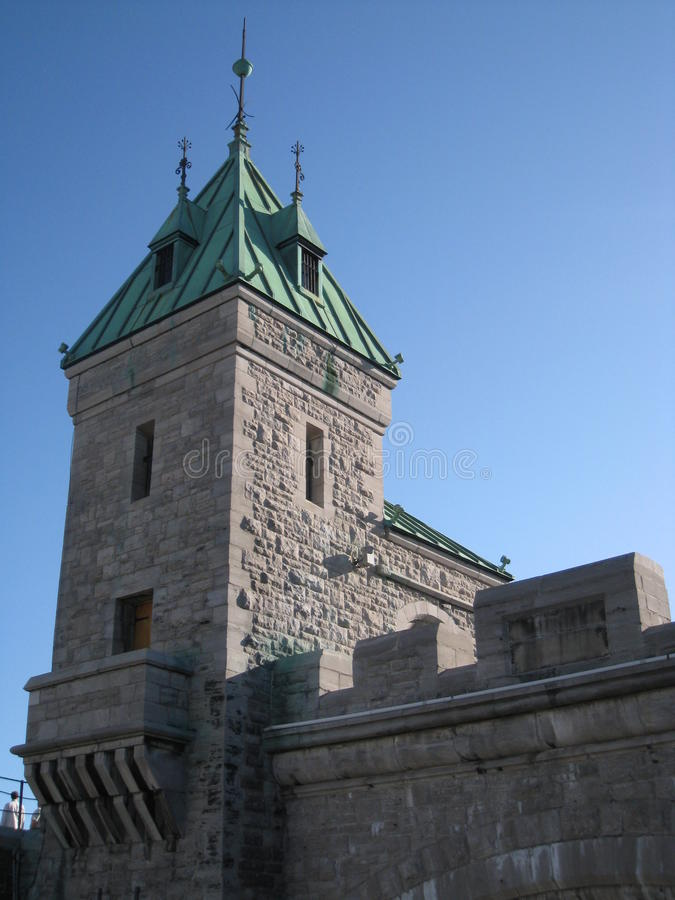 Gates of the Fortress at Place d'Youville royalty free stock photography