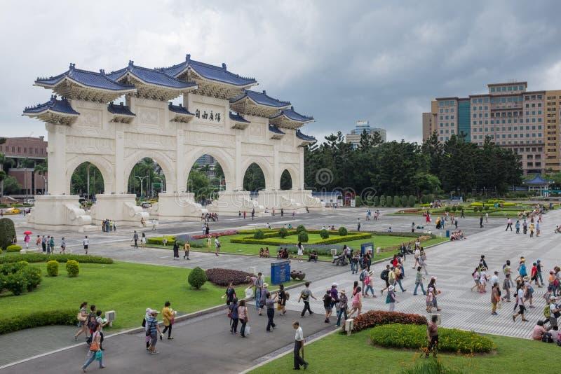 The gates front Chiang Kai Shek memorial hall stock images