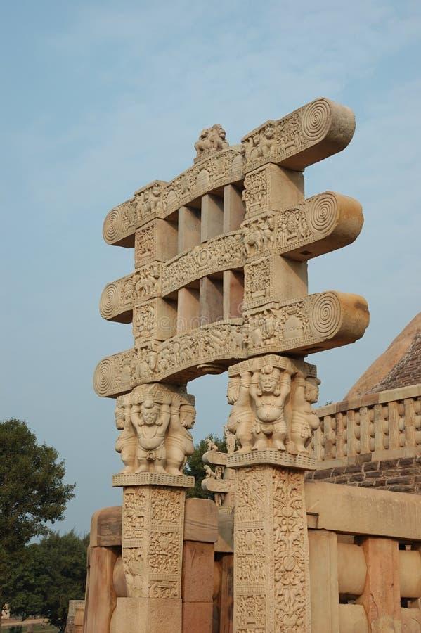 Gates of Great Stupa at Sanchi royalty free stock photo