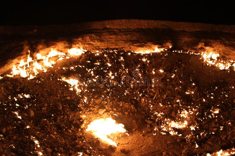 Gates of hell Turkmenistan Gas Pit. Gates of hell in Turkmenistan, an ever burning Gas Pit royalty free stock image
