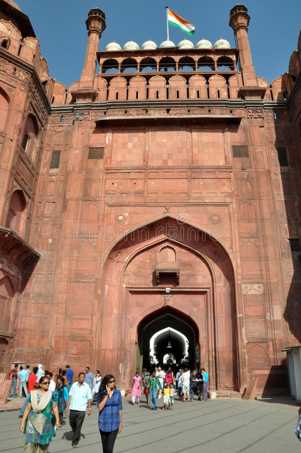 The Gates of the Massive Red Fort in Delhi, India stock photography