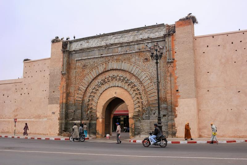 The gates of the medina, an entrance to the city of Marrakesh, c stock photo