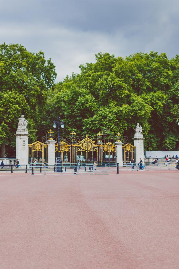 Gates outside of Green Park next to Buckingham Palace in London stock photography