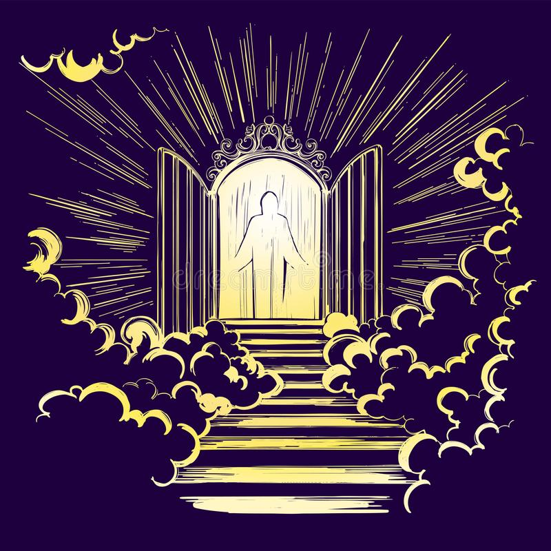 Gates of Paradise, entrance to the heavenly city, meeting with God, symbol of Christianity hand drawn vector royalty free illustration