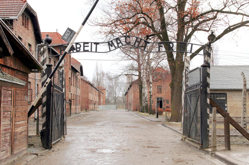 Gates to Auschwitz Birkenau Concentration Camp royalty free stock photo