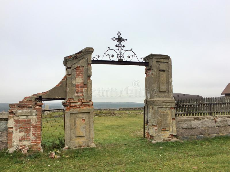 Gates to ruined church royalty free stock image