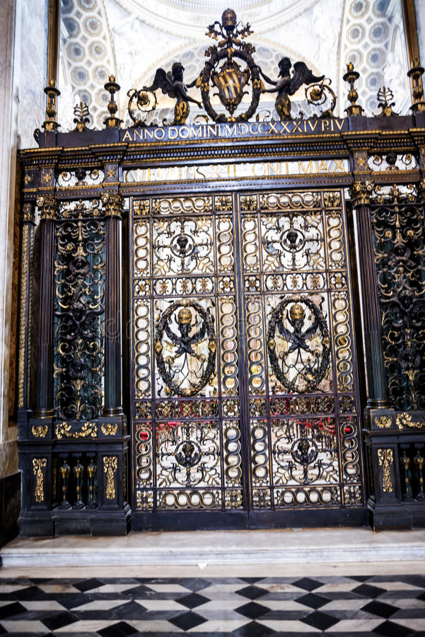 Gates to a side Chapel in the Basilica of St John Lateran in Rome Italy royalty free stock photo