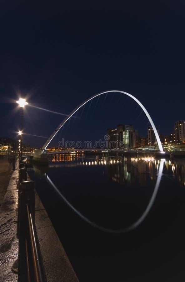 Gateshead-Jahrtausend-Brücke und Newcastle-Kaianlagen stockbild